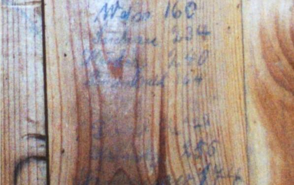 Napisy pozostawione na ścianie w dawnej przebieralni na basenie w Lipnie. Fot. 2000