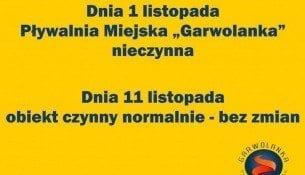 """Dnia 1 listopada Pływalnia Miejska """"Garwolanka"""" nieczynna"""