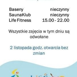 Aquapark Radom - godziny otwarcia 1 listopada