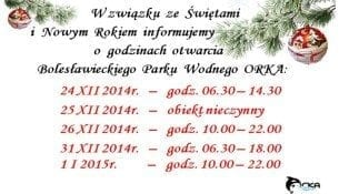 Świąteczny harmonogram Bolesławieckiego Parku Wodnego ORKA