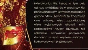 Karnawałowa Noc Saunowa 23.01 - tylko do niedzieli PROMOCJA – Termy Rzymskie