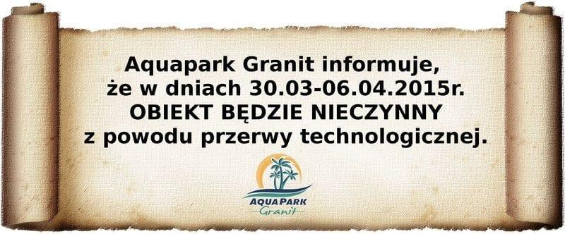 Aquapark Granit - przerwa technologiczna