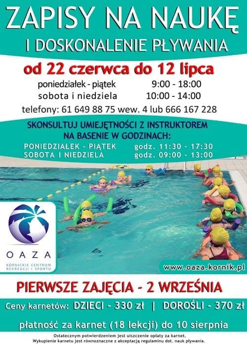 Zapisy na naukę i doskonalenie pływania - Oaza Kórnik