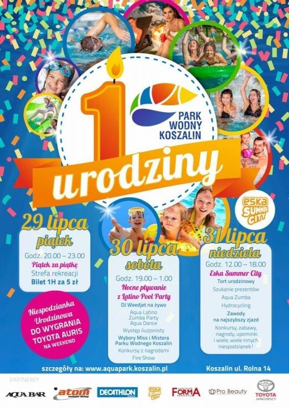 Nocne Pływanie i Latino Pool Party z okazji urodzin Parku Wodnego Koszalin