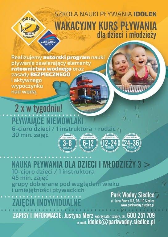 Wakacyjny kurs pływania dla dzieci i młodzieży – Park Wodny Siedlce
