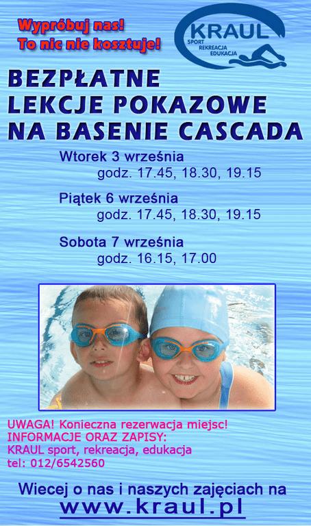 Bezpłatne lekcje pokazowe na basenie Cascada