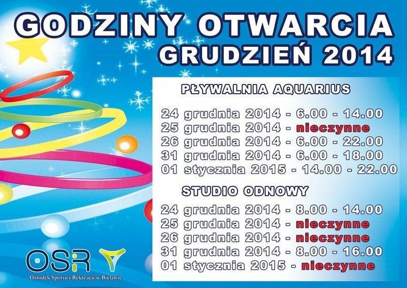 Godziny otwarcia w grudniu - OSiR Bielawa