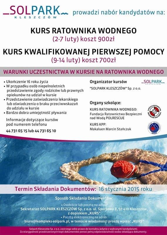 Szkolenie ratowników wodnych - Solpark Kleszczów
