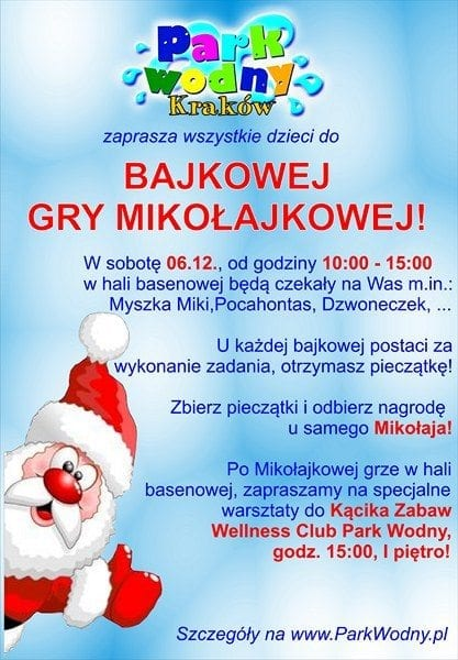 Zapraszamy na Mikołajki! - Park Wodny Kraków