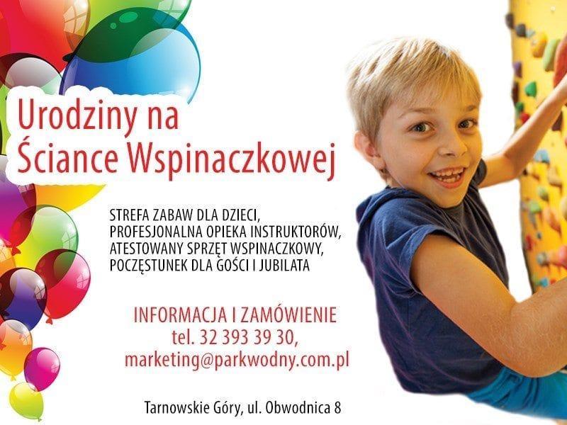 Silesia dla dzieci - urodziny na ściance wspinaczkowej