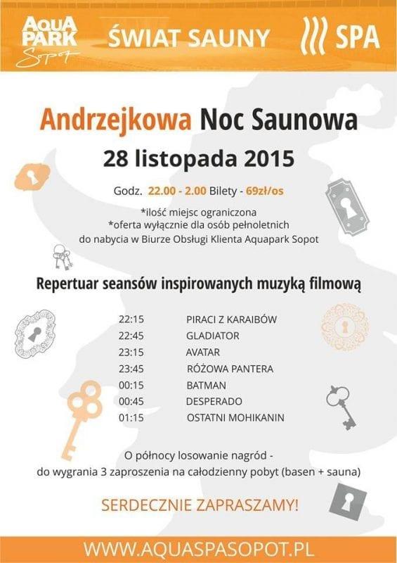 Andrzejkowa Noc Saunowa - Aquapark Sopot