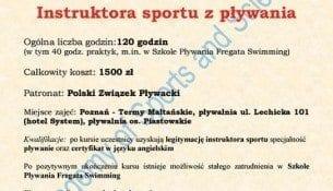 Kurs Instruktor Plywania Poznan