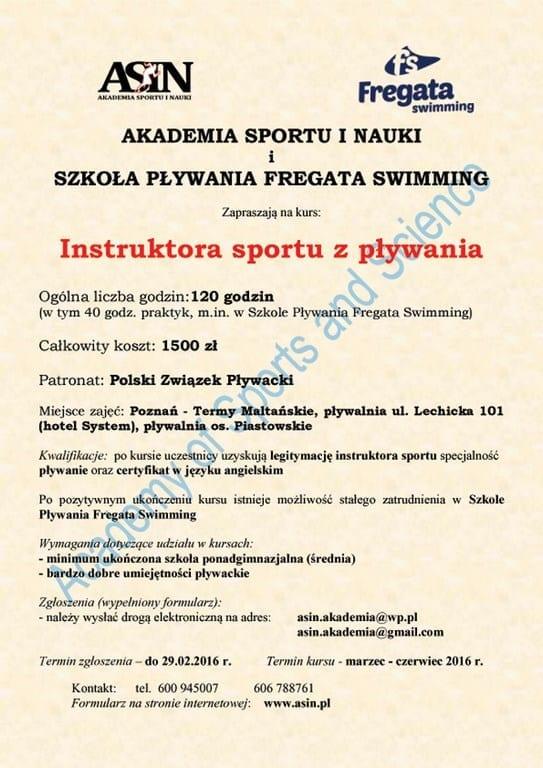 Kurs instruktora sportu z pływania - Poznań