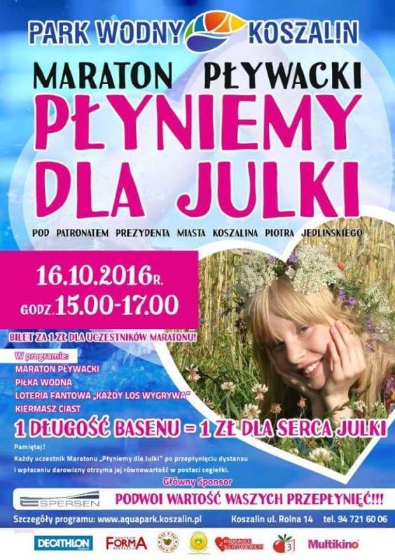 """Akcja charytatywna """"Płyniemy dla Julki"""" w Parku Wodnym Koszalin"""